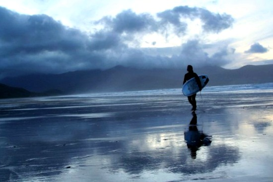 Surfing at Dusk, Brandon Bay Beach, County Kerry