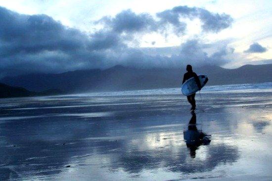 Surfing at Dusk, Brandon Bay Beach, County Kerry
